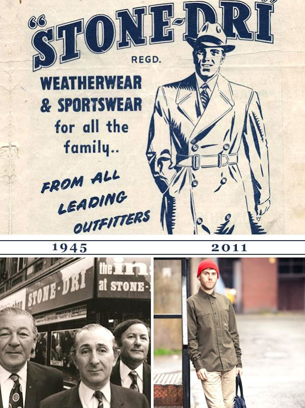 Originol Stone-Dri logo, plus photos of the new range and an old shot taken outside the first Stone-Dri store in 1945.
