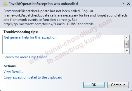 InvalidOperationException from FrameworkDispatcher.Update