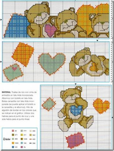 barrado ursinhos ponto cruz cross stitch