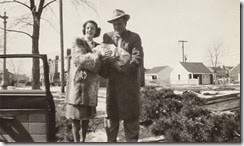 GOULD_Patricia & Harry_Norman_bringing Diane home from hospital_Mar 1950_DetroitWayneMichigan