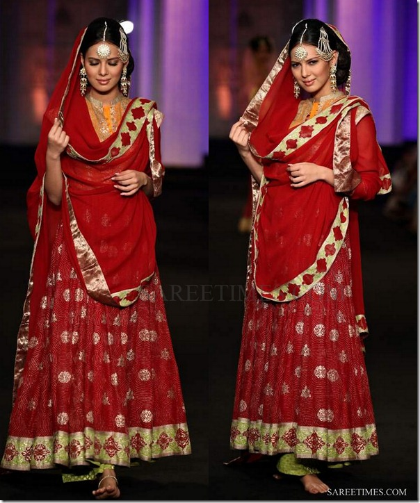 meera musaffar ali_red_lehenga