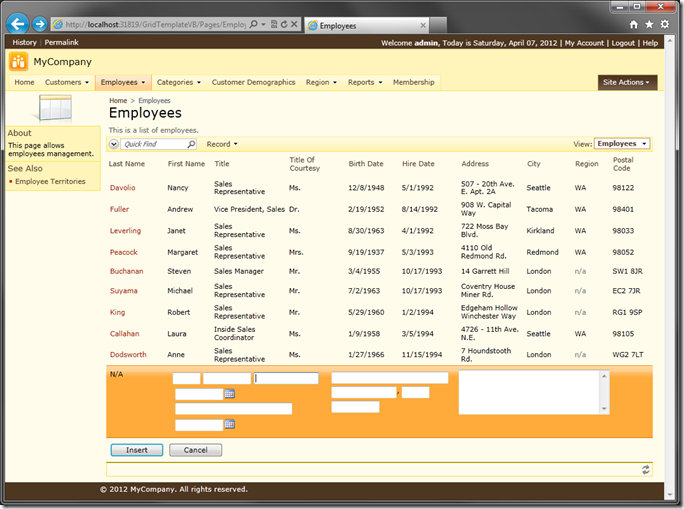 Employee record using custom template with inline new mode