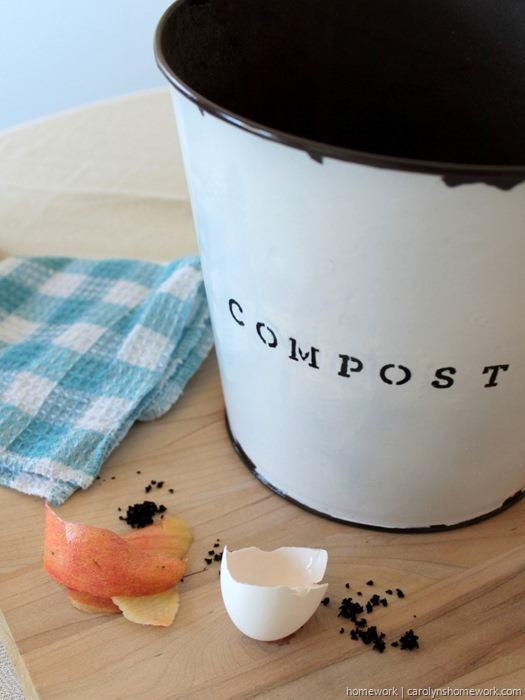 DIY Faux Enamel Ware Compost Bin - homework ~ carolynshomework (17)