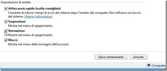 Impostazioni di arresto Windows 8 e 8.1