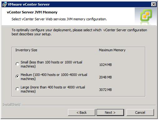 VMware vCenter Server Installer - vCenter Server JVM Memory
