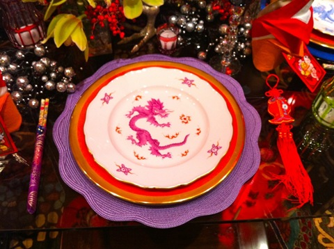 chinese new year red and purple table setting