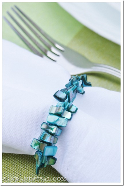 DIY blue coral napkin rings