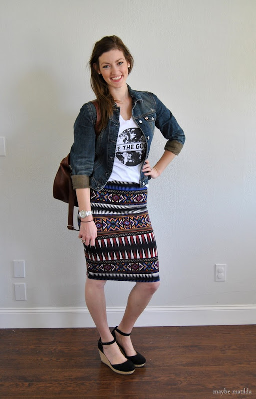 graphic tee + bold aztec skirt + jean jacket // www.maybematilda.com