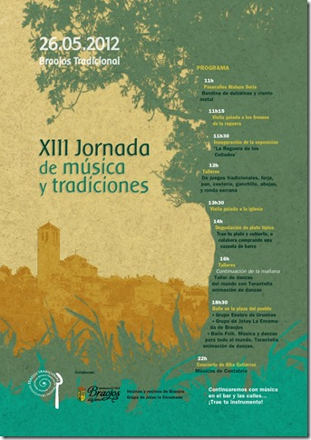 Cartel XIII Jornada de música y tradiciones de Braojos Tradicional