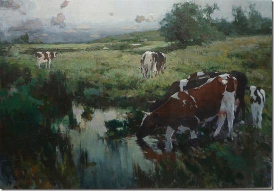 Landscape with cowsa-Vadim-Suvorov-ENKAUSTIKOS