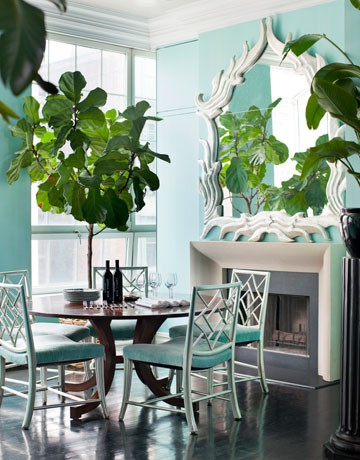 I pulled this picture to show how greenery can be used as a color, too. Against the ocean teals of this powdery room, enormous leaves make their own color statement. (www.pinterest.com)