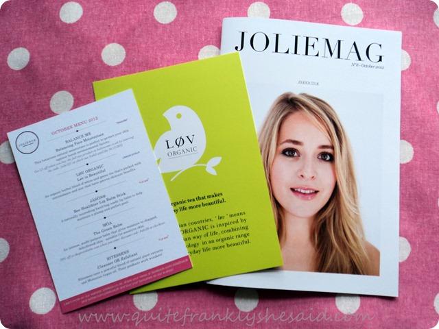October Joliebox Beauty Box Menu