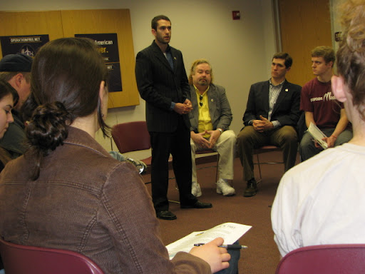 Three veterans made a stop in Springfield Wednesday to talk with Missouri State University students about America's dependence on foreign oil, and why they think it's detrimental to national security and the environment. (Photo credit: Jennifer Moore)