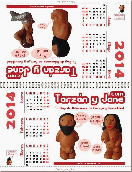 Calendario 2014 gratis A4 para imprimir de Tarzán y Jane