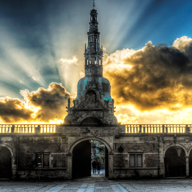 Sunset over Frederiksborg Castle by Flemming Nielsen - Buildings & Architecture Public & Historical ( hdr, sunset, castle, frederiksborg castle, fire, historic )