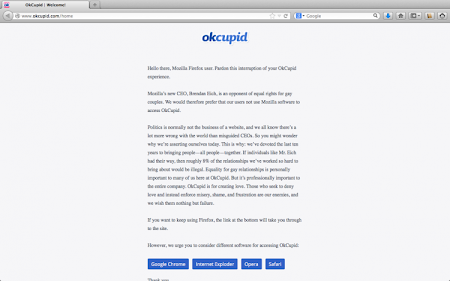 OKCupid annuncio contro Firefox