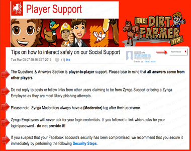 Safety on the Zynga Support Site