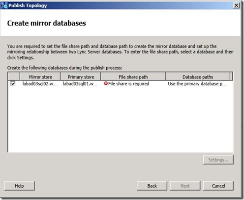Lync 2013 - SQL Mir - publish