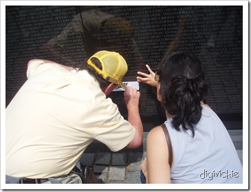 Vietnam Memorial Wall - getting the etched name 'rubbed' onto paper
