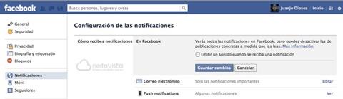 Desactivar sonidos de notificaciones de Facebook