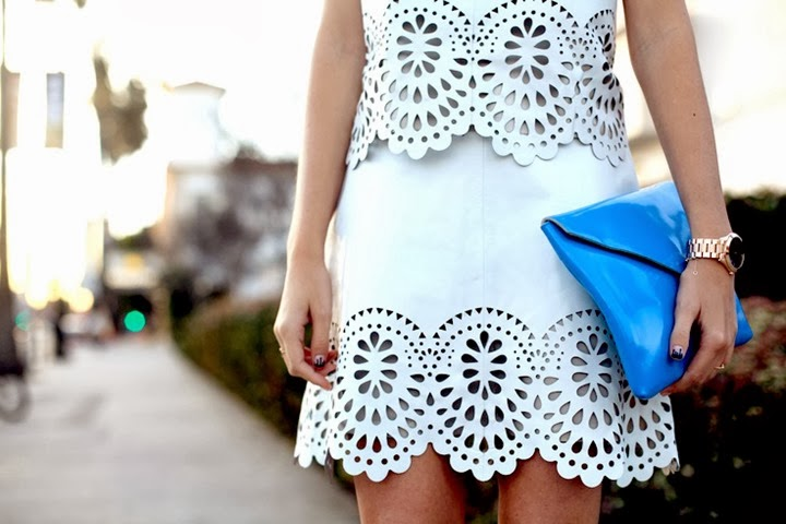 street style laser cut white suit blue clutch fashion