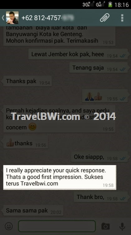 TravelBWi Booking WhatsApp