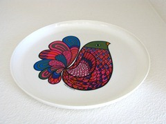 Deka plate or tray with a colorful stylized bird design (1969)