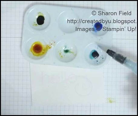 add re-inkers and water to paint tray, plate or plastic lid.