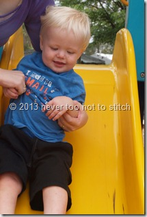 Daniel's first slippery slide