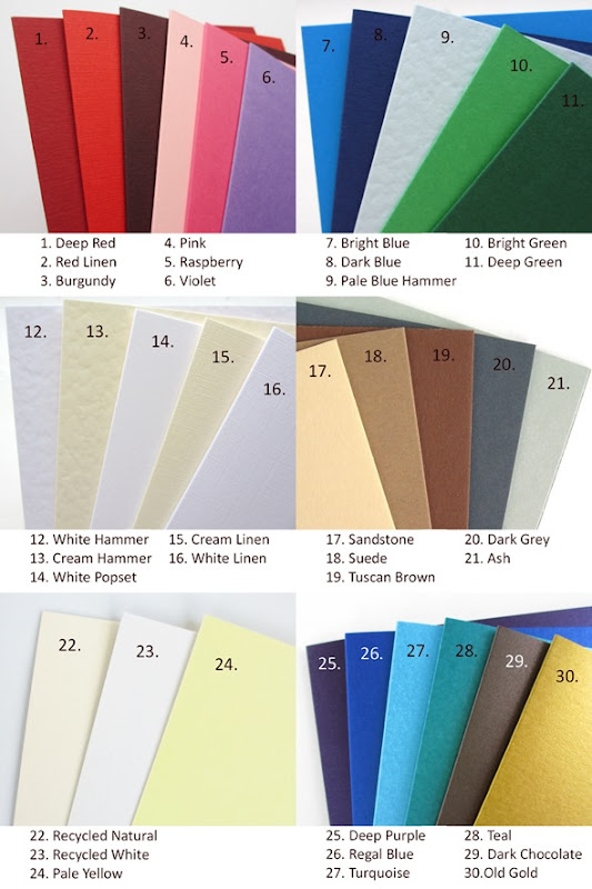 April 2013 Colours of Card in stock