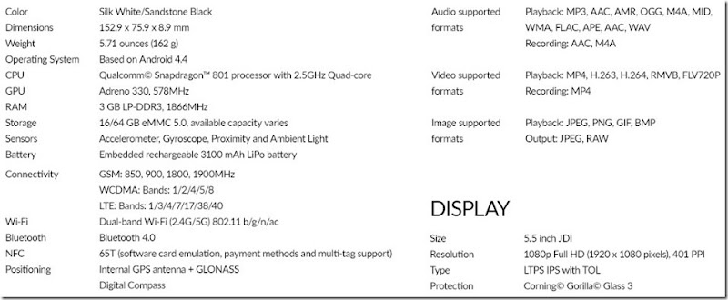 OnePlus+specifications