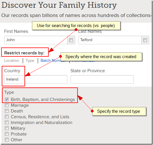 "Use the ""Restrict record by"" fields to search for records (vs. persons)."