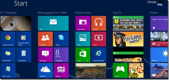 Schermata Start Windows 8 risistemata e ordinata