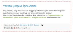 Blogger Yazı Alanına Çerçeve Ekleme