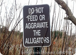 Gulf Shores alligators sign in Gulf State Park.