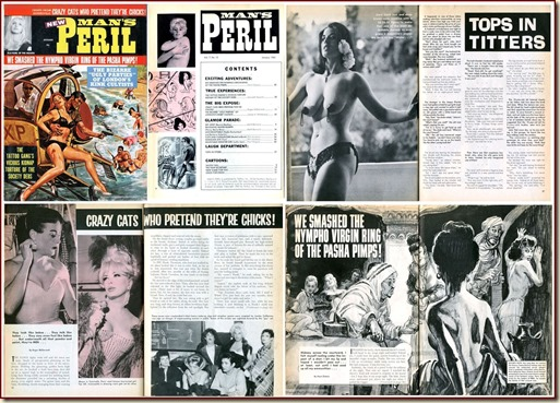 MAN&#39;S PERIL, January 1965 - cover &amp; contents w border