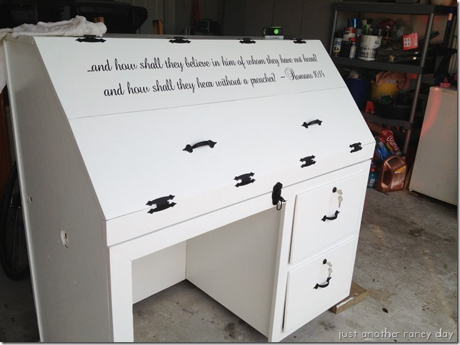 Furniture personalized with vinyl.  Justanotherraneyday.blogspot.com