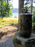 A Buddhist prayer wheel on the side of a road on Bainbridge island