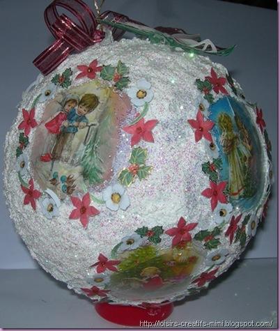 Noël, boule acrylique, neige, 3D