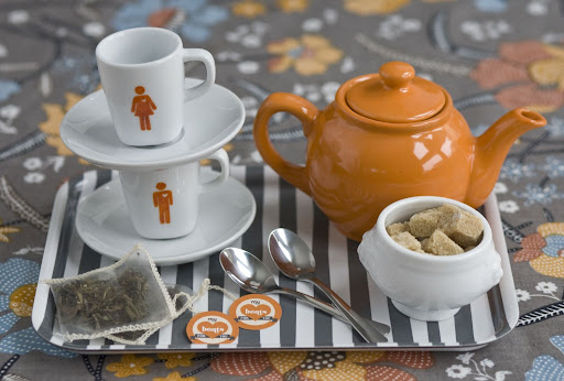 The wedding weekend can be a hectic one. Stash this his-and-hers tea set in your room for some quiet time.