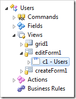 The category 'c1 - Users' of editForm1 view.