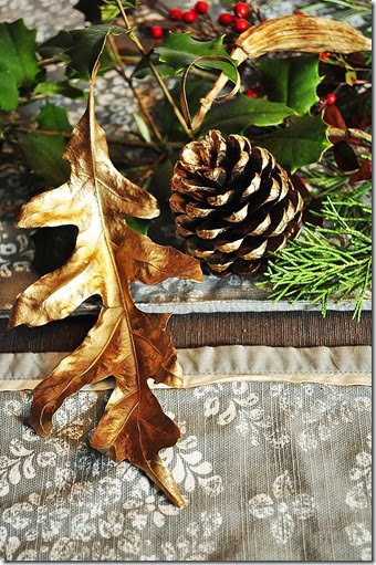 leaf, pine cone, seed pod spray painted in gold