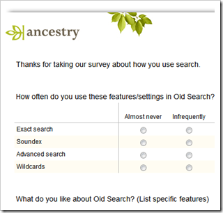 Take the Ancestry.com search survey to affect the future of Ancestry.com search functionality