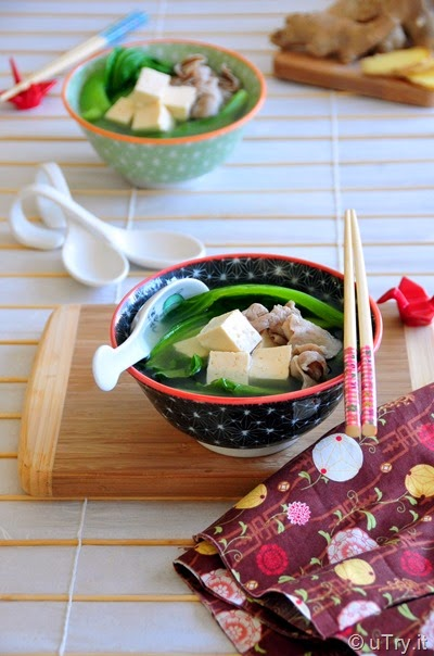 Chinese Mustard Green Soup with Tofu and Pork (芥菜豆腐肉片湯)   http://utry.it   @utry.it