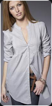 Chemise col mao à plis femme