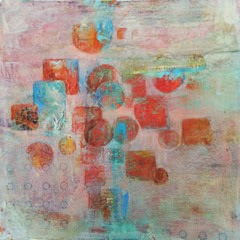 mixed media 8x8 series 4 circles and squares