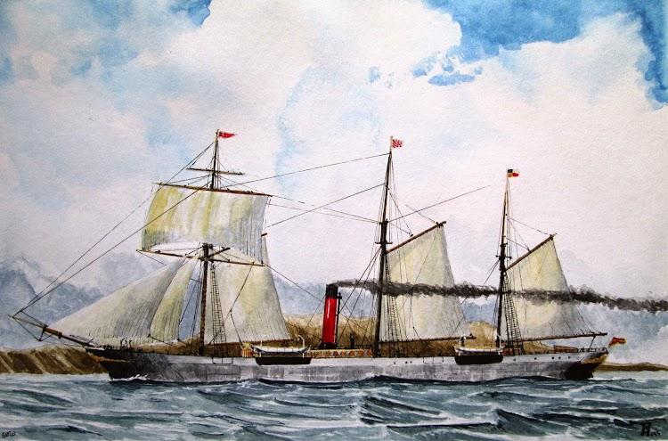 Acuarela del vapor EBRO. Roberto Hernandez, El Ilustrador de Barcos. Del libro Historias de la Marina Mercante. Vol. 1.JPG