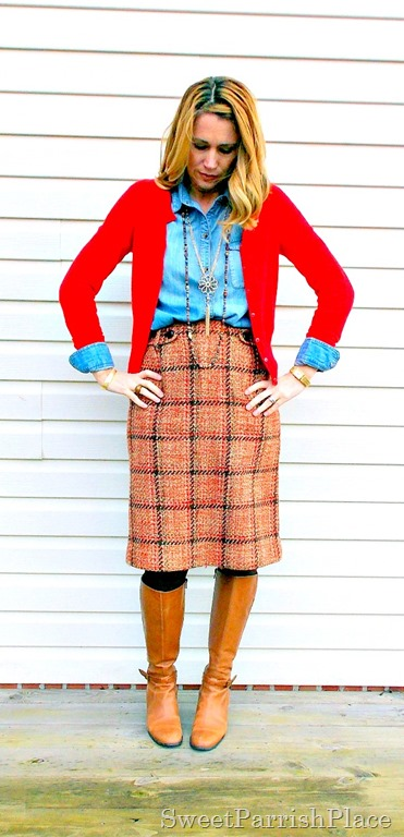 plaid tweed skirt, denim shirt, red cardigan and tall boots4