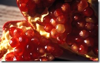 Close-up of red pulp of the pomegranate