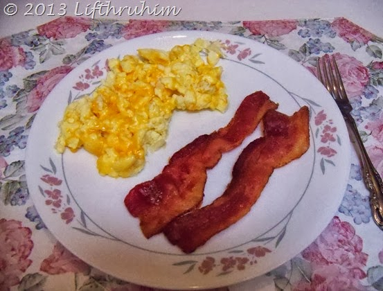 Cheesy Scrambled Eggs and Bacon, an S style breakfast